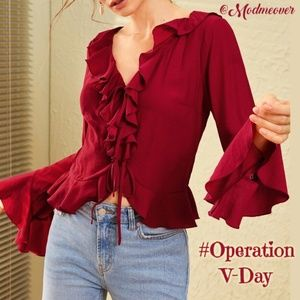 NEW Burgundy Red Ruffle Trimmed Flounce Sleeve Top